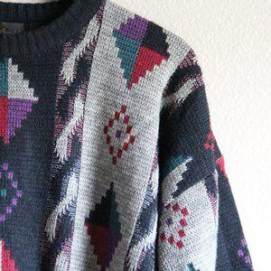 Vintage Sweaters - Vintage Grandpa Sweater Crew Michael Gerald 80s XL